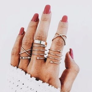 Spiral Gold Stacked Knuckle Midi Rings 6pc Set